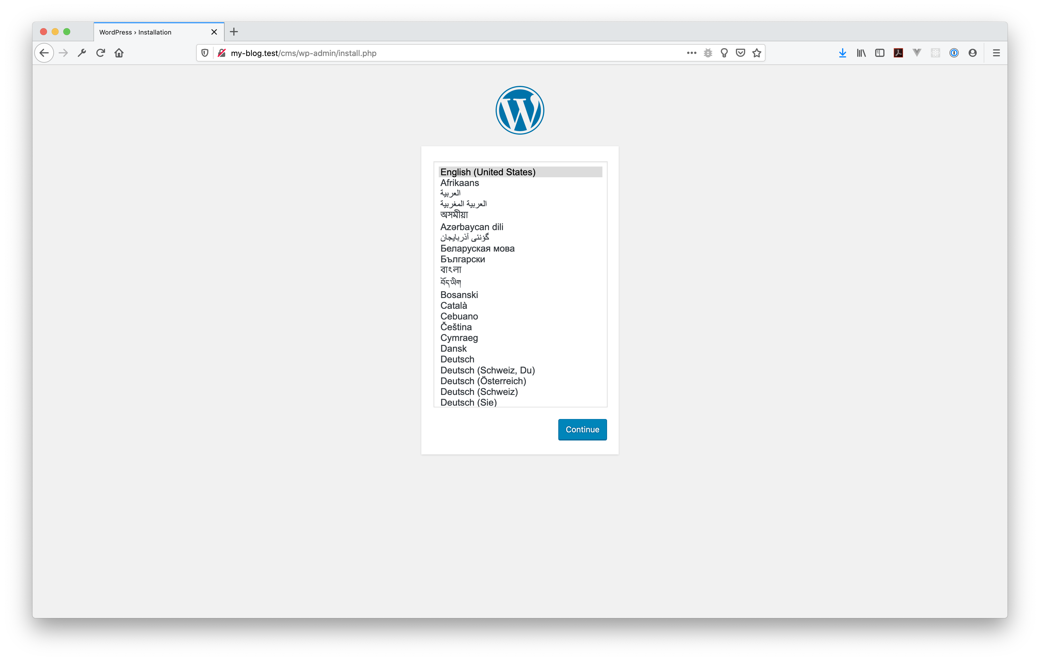 my-blog WordPress installation screen.